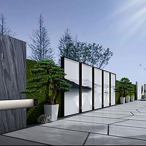 583㎡别墅现代简约风格阳台效果图
