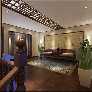 爱丽榭中式风格庭院装修效果图
