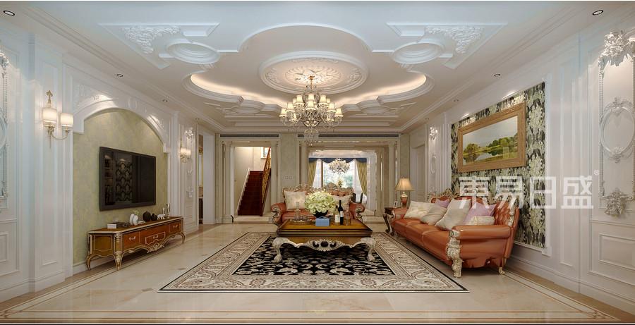 后奢华风格-一层客厅-装修效果图