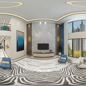 现代简约风格客厅装修效果图_别墅