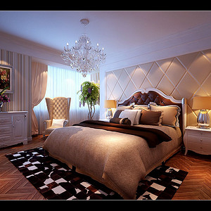 主卧人字铺设的木地板让卧室空间不会沉