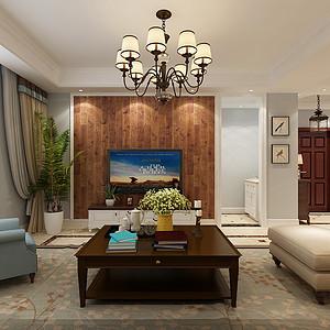 中信公园城美式风格客厅装修效果图