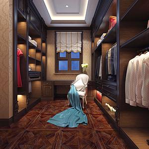 海逸王墅美式风格二层衣帽间装修效果图