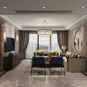紫兰公寓新中式160㎡效果图