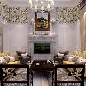 融创玫瑰园-260平米-美式风格装修案例效果图