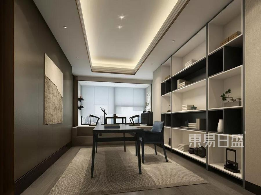 普通住宅-新中式-效果图-书房