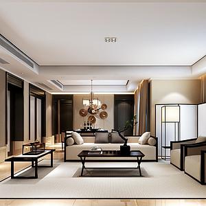 领秀滨江125平米新中式风格设计