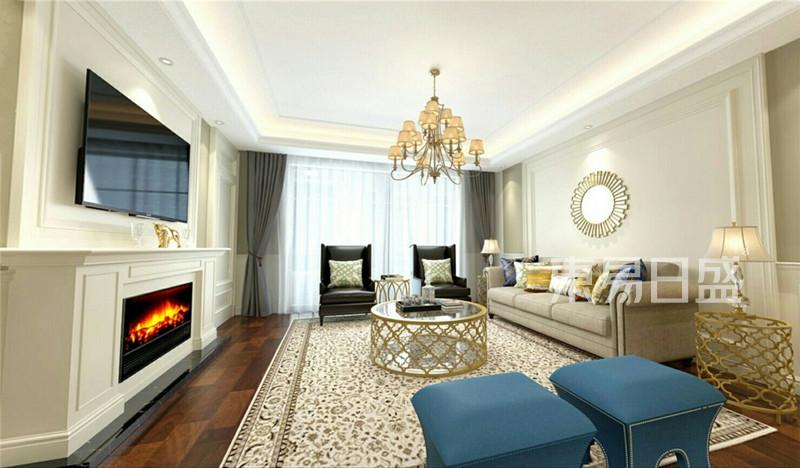 简美风格客厅 电视墙做以装饰壁炉效果图 装修效果图大全2017图片