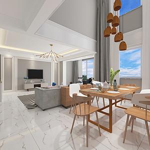 昆明市裕丰园小区158平米跃层北欧装修风格效果图案列