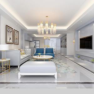 客厅装修效果图 美式风格 三室两厅