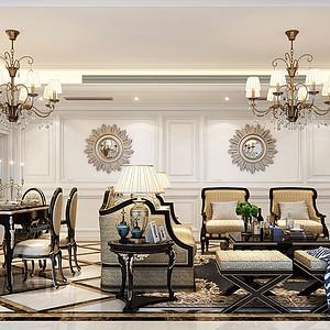 160㎡三居室新古典风格客餐厅效果图