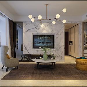 保利花园110㎡三室两厅现代北欧风格案例