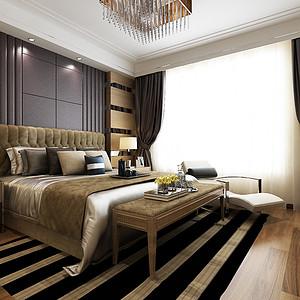 海河大观现代风格卧室装修效果图