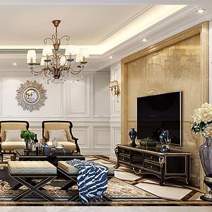 160㎡三居室新古典风格客厅效果图