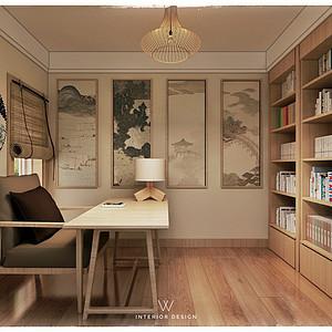 城厢公馆日式风格二层书房装修效果图