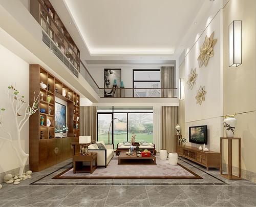 万科棠樾 新中式装修效果图 442平米别墅设计