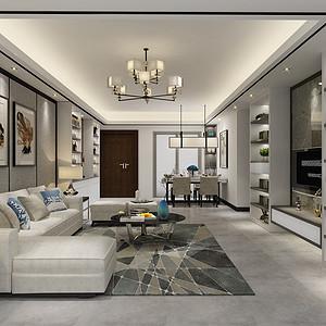 绿景虹湾 现代简约装修效果图  122㎡三室两厅装饰设计