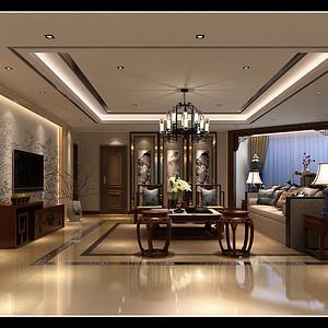 龙园 新中式风格装修效果图 三居室 200㎡
