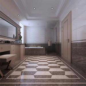 津门公寓现代新雅致风格主卧卫生间
