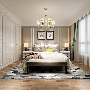 天鹅湖庄园北美风格主卧室装修效果图