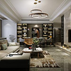 145㎡四居室现代港式风格客厅效果图
