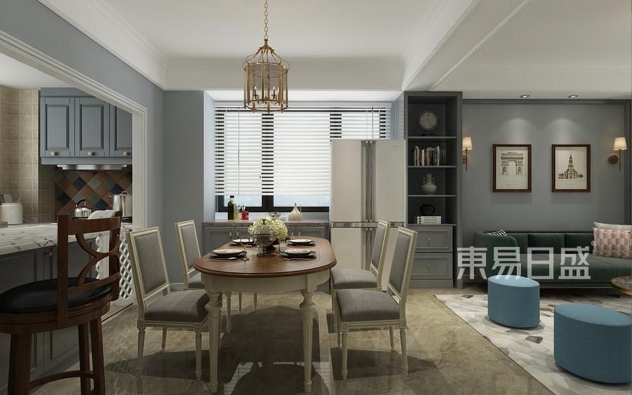 青岛装修公司-美式设计案例-餐厅装修效果图