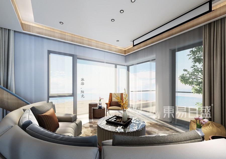 150平阿那亚洋房现代简约风格客厅装修效果图