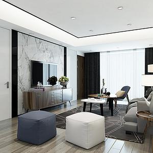 半岛华府 现代简约风格装修效果图 两居室 120㎡