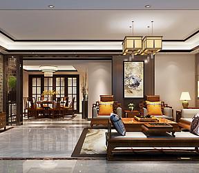佛山万科水晶城现代中式客厅装修效果图
