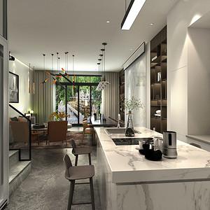 现代简约 厨房装修效果图 别墅装饰