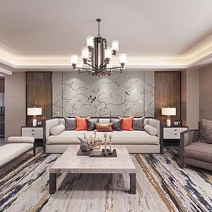 观澜湖-新中式风格-客厅装修效果图