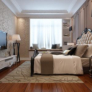 海河大观新古典风格卧室装修效果图