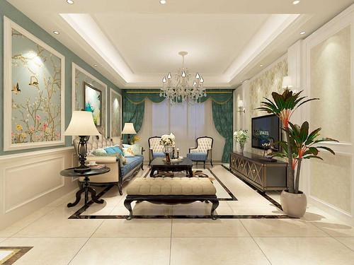 中海河山郡-135平米-简约美式风格三室两厅装修案例效果图