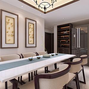 餐厅简单大气地面米色地砖铺贴