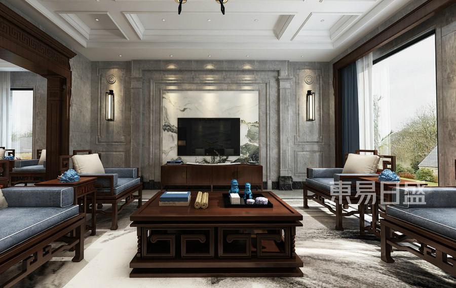 中式欧式混搭风格客厅装修效果图