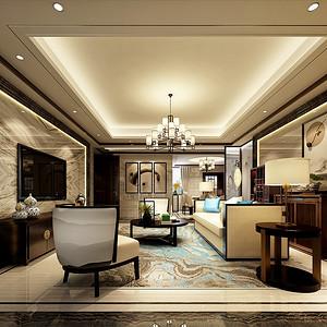 第六都200平新中式风格客厅全景