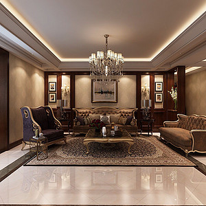 皇家花园美式风格客厅沙发背景墙