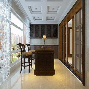 美式风格-阳台-装修效果图