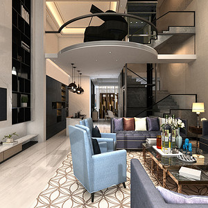 现代简约 客厅装修效果图 别墅装饰