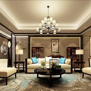 第六都200平新中式风格客厅