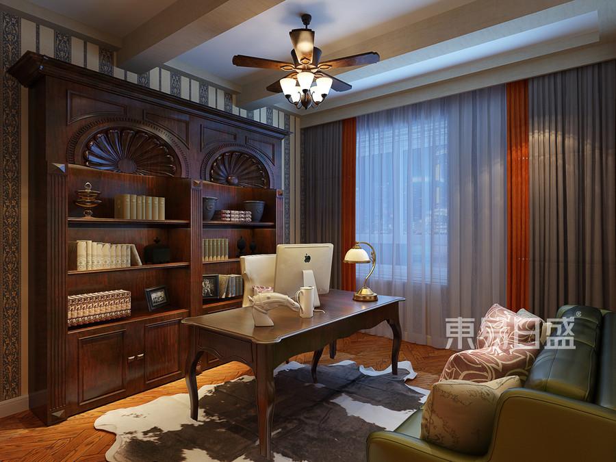 良志嘉年华-美式风格书房装修案例效果图
