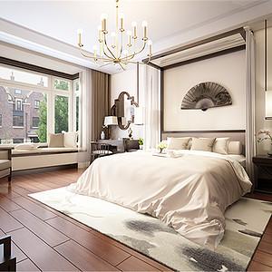 凤城天鹅湖新中式风格卧室装修效果图
