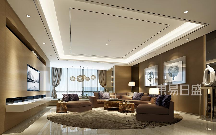松山湖锦绣山河观园现代简约风格客厅装修效果图