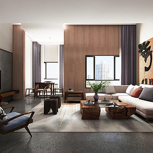 心泽园现代东方风格客厅装修效果图