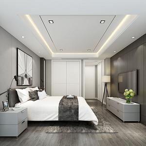 美哉美城135㎡现代风格卧室效果图