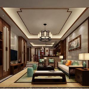 滨河时代 -新中式风格-200平-装修效果图