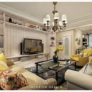 中央学府现代美式风格客厅装修效果图