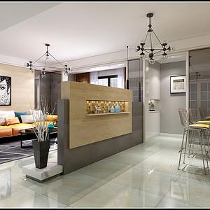 客厅宽敞,木色墙板使空间显高贵