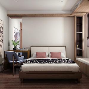 心泽园现代东方风格卧室装修效果图