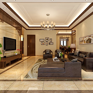 酒城一号125平米现代中式风格设计